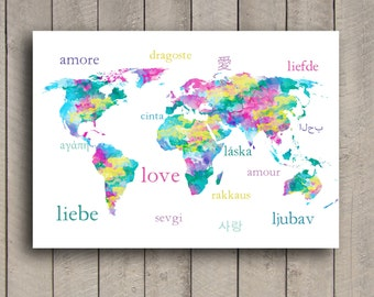 Pastel LOVE World Map Typography Art Print With Watercolor Texture & Love in Different Languages.Pink and Aqua World Map with Words for LOVE