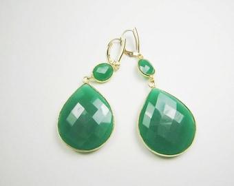 Extra Large Green Onyx Double Drop Earrings, 24k Gold Vermeil Bezel Set, Statement Earrings, 14k Gold Filled Leverback. Dangle Earrings