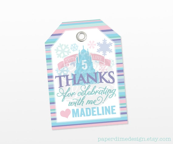 PERSONALIZED & CUSTOM Frozen Party Favor Tags, Inspired Elsa Anna Snowflake Birthday Girl Treat goodie bag Label Gift Sticker