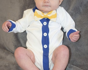 Baby Boy Cardigan, Baby Cardigan and Bow Tie Set, Nautical Cardigan and Bow Tie Set, Cardigan Bodysuit, Nautical Baby Outfit, Baby Bodysuit
