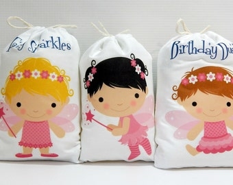 """Fairy Favor Bags Princess Girls Birthday/ Baby Shower Bags great for Treats or gifts Personalized 5"""" X 7"""" or 6"""" X 8"""" Qty 6"""