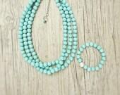 Three strand beaded aqua mint necklace,Mint bridesmaid necklace,Robins egg Bridesmaid gift,Aqua mint necklace,Robins egg jewelry,Aqua