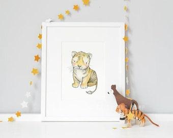 Baby Tiger, UNFRAMED New Born Art, Picture for baby, Nursery Art, Neutral Modern, Unisex Nursery Art, Kid's Safari Art, Africa Animal Print