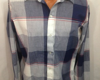 Vintage Men's DeeCee Boxed Plaid Long Sleeve Button Down Shirt Size Medium