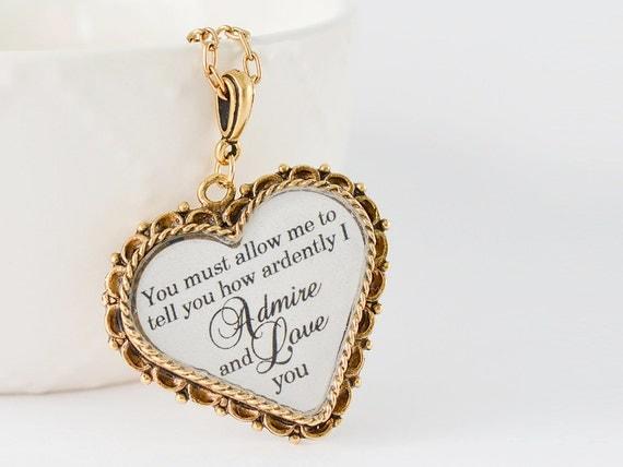 Pride and Prejudice - Mr. Darcy Gold Heart Pendant - Jane Austen Quote Necklace - Literature Jewelry