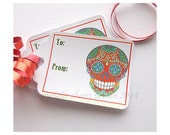 DIY Day of the Dead Gift Tags PDF. Printable Halloween Tags. Red Skull Mexican Sugar Skull Gothic Christmas Wrap. Holiday Labels