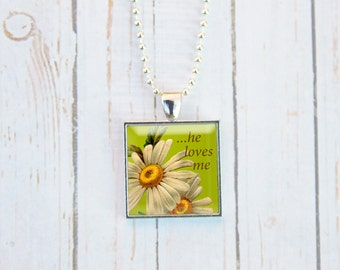 He Loves Me Necklace, He Loves Me Jewelry, He Loves Me He Loves Me Not, Daisy Necklace, Daisy Jewelry, Daisy, Gift Under 15