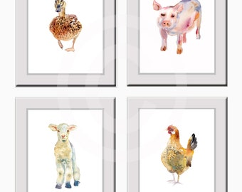 Farm Animal Prints,Watercolor Painting,duck,pig,lamb,chicken, Nursery Art