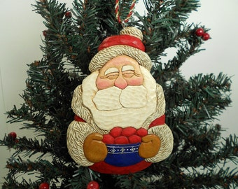 Hand Carved Santa Christmas Tree Ornament