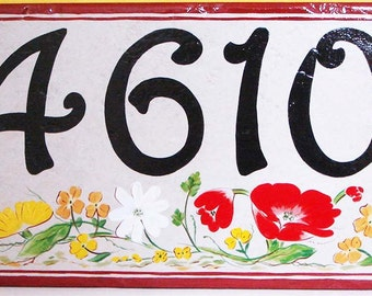 House numbers, house number plaque, house number sign, hand painted Italian house numbers, ceramic house numbers, housewarming gifts, floral