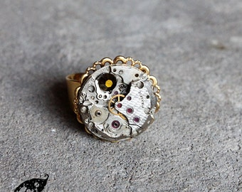 Steampunk Neo Victorian Gold Round Filigree Stainless Adjustable Ring with Vintage 21 jewels Etched Watch Movement and Swarovski Crystal