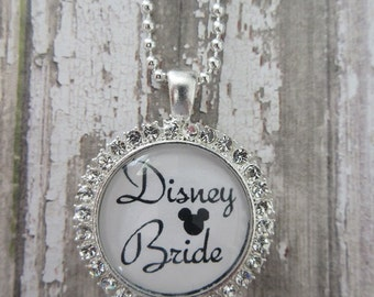 Clear Rhinestone Disney Bride Glass Pendant Necklace