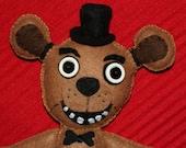 """Five Nights at Freddy's Freddy Fazbear StitchUps Doll - Handmade Felt Doll - 10"""" FNAF"""