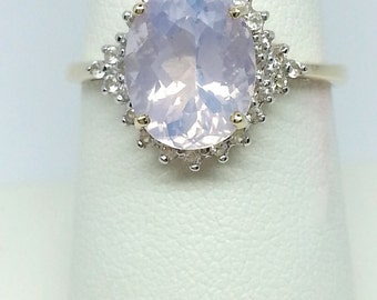 2.76ct Lavender Amethyst & White Topaz Solid 10K Gold Ring Size 8