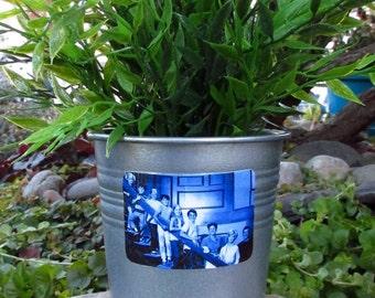 BRADY BUNCH, galvanized metal silver planter pot, Here's the Story, groovy classic TV show, Johnny Bravo, Alice