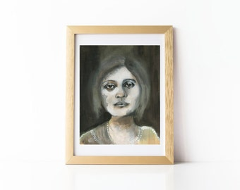 Black and White Portrait, Art Print, Ghostly, Haunted, 8 x 10