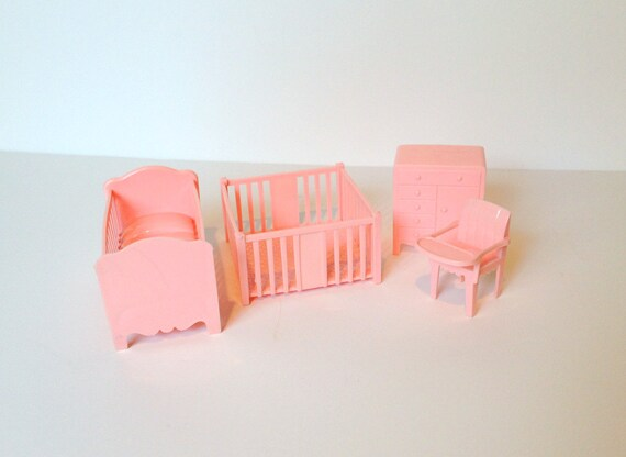 Vintage Marx Dollhouse Furniture Pink Nursery Crib Playpen