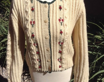 Vintage Christmas Cozy classic chunky knit English wool Cardigan sweater