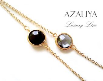 Black and Grey Bracelet Set. Oval Bezel Stone Bracelet. Gold Chain Bracelet. Azaliya Luxury. Bridesmaid Bracelet. Bridesmaids Gift.