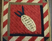Quilted Pineapple Patchwork Wall Hanging, Christmas Quilt, Primitive, Colonial Welcome,Cotton, Wool