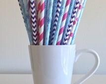 Snowflake Paper Straws Pink and Purple Frozen Party Supplies Party Decor Bar Cart Accessories Cake Pop Sticks Mason Jar Straws
