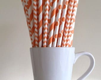 Orange Paper Straws Orange Striped, Chevron, and Polka Dot Party Supplies Party Decor Bar Cart Cake Pop Sticks  Party Graduation