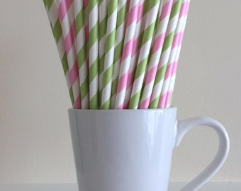 Cake Decorating Stores In Greensboro Nc : Pink Red and Green Paper Straws Strawberry by PuppyCatCrafts