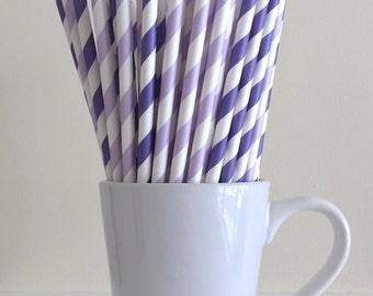 Purple Striped Paper Straws Purple and Lavender Lilac Party Supplies Party Decor Bar Cart Cake Pop Sticks Graduation Party Graduation