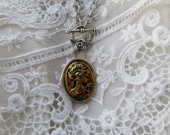 Gold and Silver Cameo Pendant, Romantic, Inspired Gift, Giving Ready