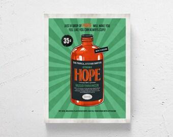 "Retro modern art / retro design, modern wall art, positive art, retro modern art, funny art, fun art  / ""Hope"""