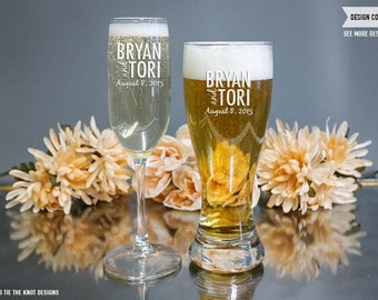 Personalized Champagne Flute and Beer Glass - (Set of TWO) Custom Engraved Toasting Flute and Hourglass Pilsner - Couples Wedding Gift