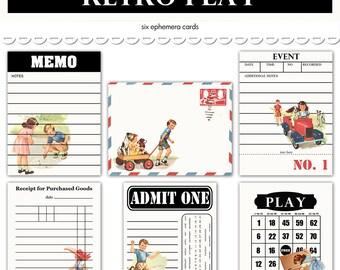 "Digital retro children journaling cards / vintage/ project life  / ephemera collage sheet / 6 designs / downloadable, printable / 3"" by 4"""