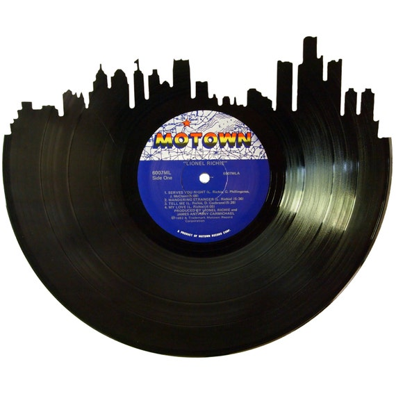 Detroit Skyline Silhouette Vinyl Record Wall Art By