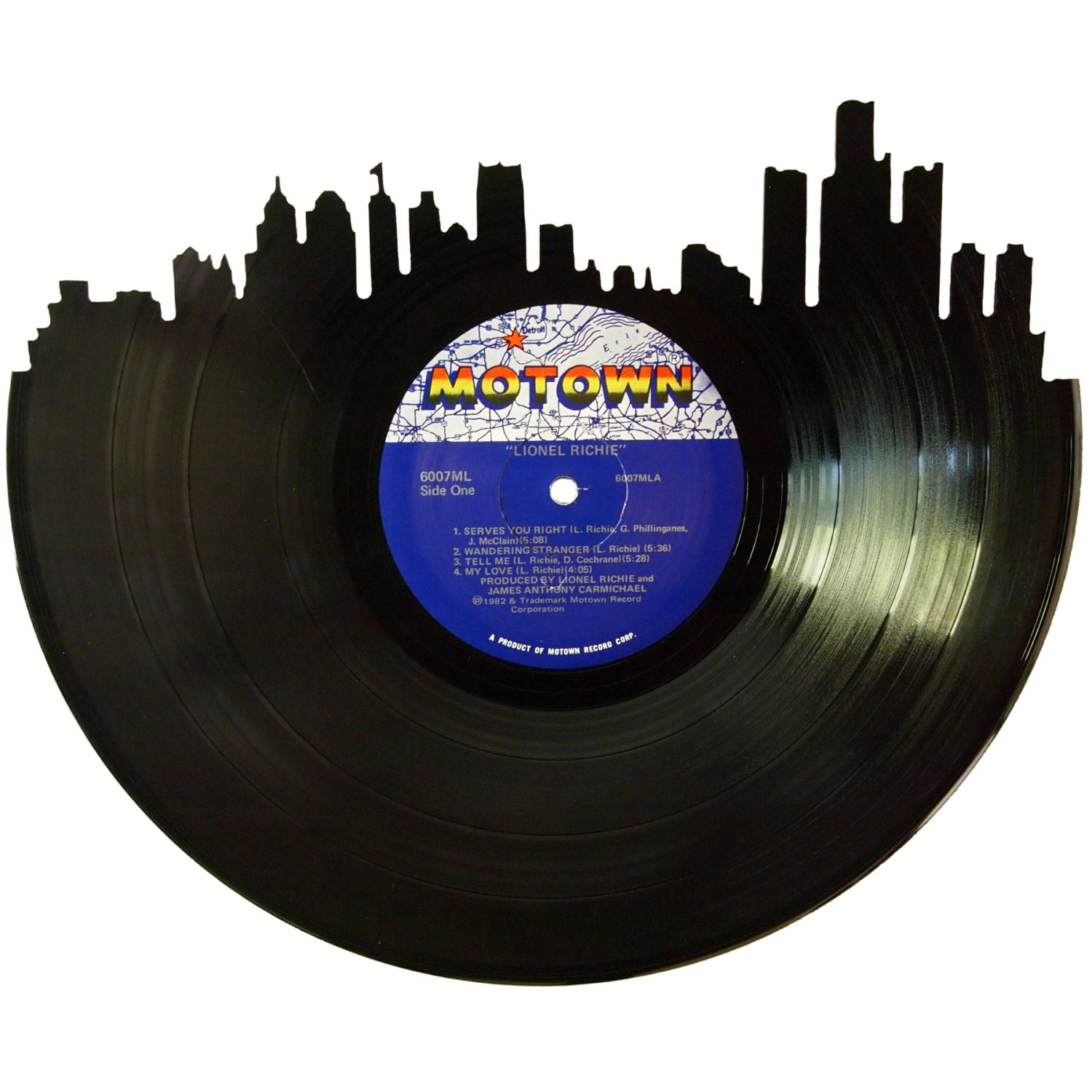 Detroit skyline vinyl record wall art unique by recordsredone for Vinyl record wall art