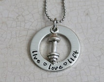 Live.Love.Lift Pewter Necklace with Pewter Dumbell Charm  Exercise Jewelry Fitness Necklace Bodybuilder Necklace Personal Trainer