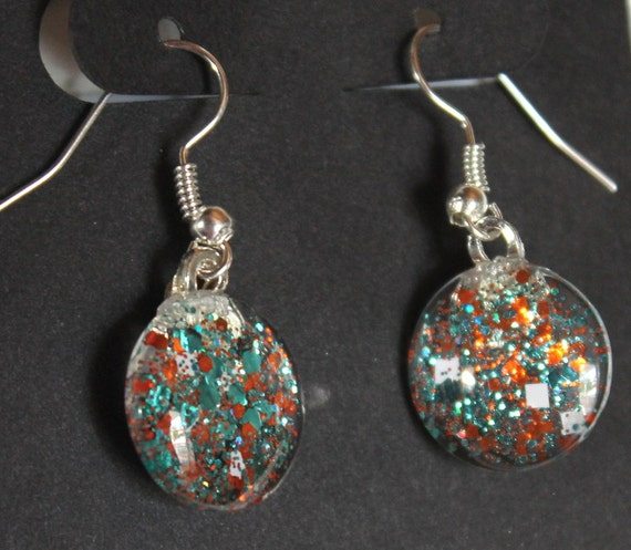 orange and teal earrings miami dolphins colors dangle glitter earrings glitter jewelry round earrings