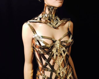 meccano gold corset burlesque fetish pvc steampunk cosplay armor scifi clothing futuristic cybergoth gothic lady gaga burning man