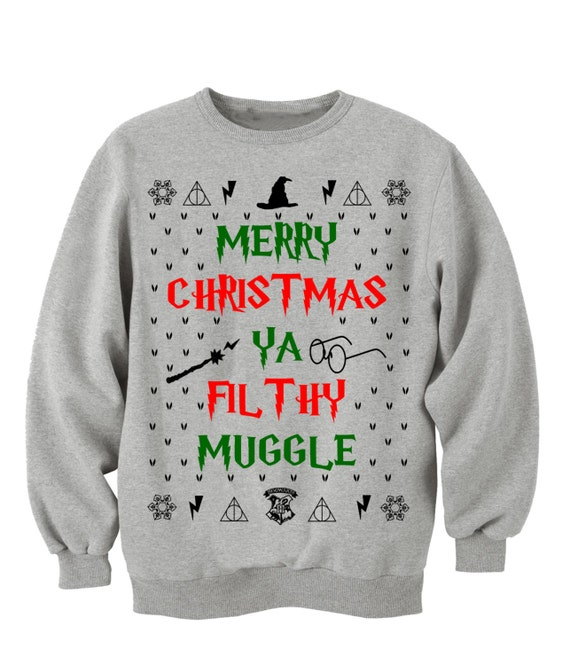 f8326df8 HARRY POTTER CLOTHING, MERRy CHRISTMAs Ya FILTHy MUGGLe, Ugly sweater,  Christmas Vacation