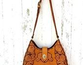 70s Hand Tooled Leather Handbag Roses Large Cross Body Satchel Purse Boho Hippie Bag Tote