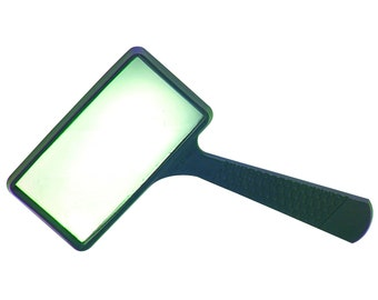 "Real GLASS MAGNIFYing Glass 4x four power Magnifier 4"" inch x 2"" inch Handheld Rectangular Magnifier w/ handle to magnify reading"