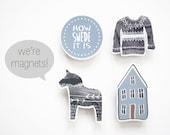 Swedish Magnets - Set of 4 - How Swede It Is - Scandinavian Design - Kitchen Home Office Decor