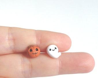 Halloween earrings stud tiny Ghost and Pumpkin in polymer clay horror nightmare fantôme horquillas hair clip