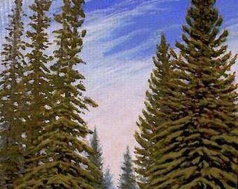 Evergreens 'Communion' - original Landscape Painting - oil - trees - sky - impressionist - contemporary - wall art