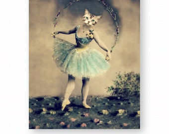 "Cat Art Print, Nursery Decor, Girl's Room Decor, Anthropomorphic Collage, Ballet Dancer, Novelty Gift, Blue, (3 Sizes) ""Miss Kitty Divine"""