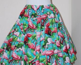 Flamingo full circle skirt rockabilly totally tropical