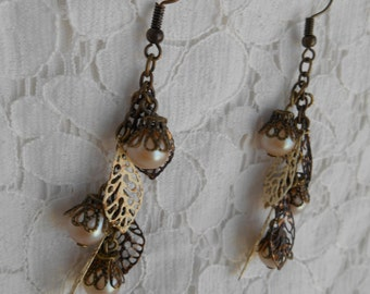 Bronze Leaf and Pearl earrings ~Handmade~ OOAK