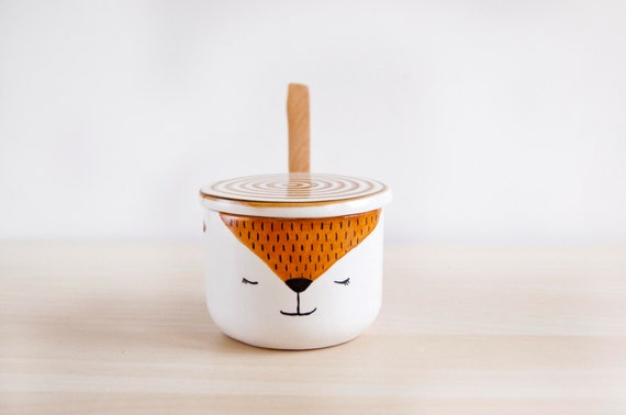 Cute artic Fox ceramic sugar bowl with lid and spoon, Pottery sugar bowl, Ceramics & pottery, Kawaii ceramic, Cute gift, Ceramics Clay