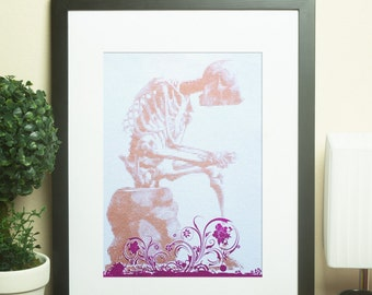 Gold skeleton sitting with floral motif, half-tone screen print