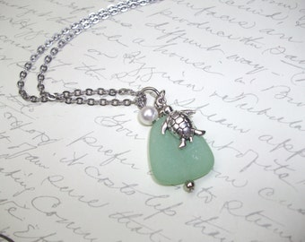 Moss green seaglass pendant with turtle charm and pearl