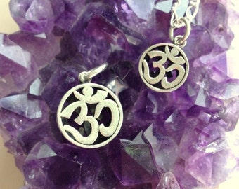 Sterling Silver Double Sided Om/Aum/Ohm Pendant 2 Sizes With or Without Sterling Silver Chain